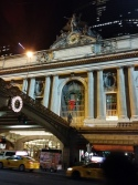 Grand Central's facade with sculptures of Minerva, Hercules, and Mercury