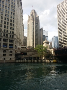 Water view of Chicago Tribune