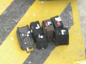 Our bags among the lost luggage delivery