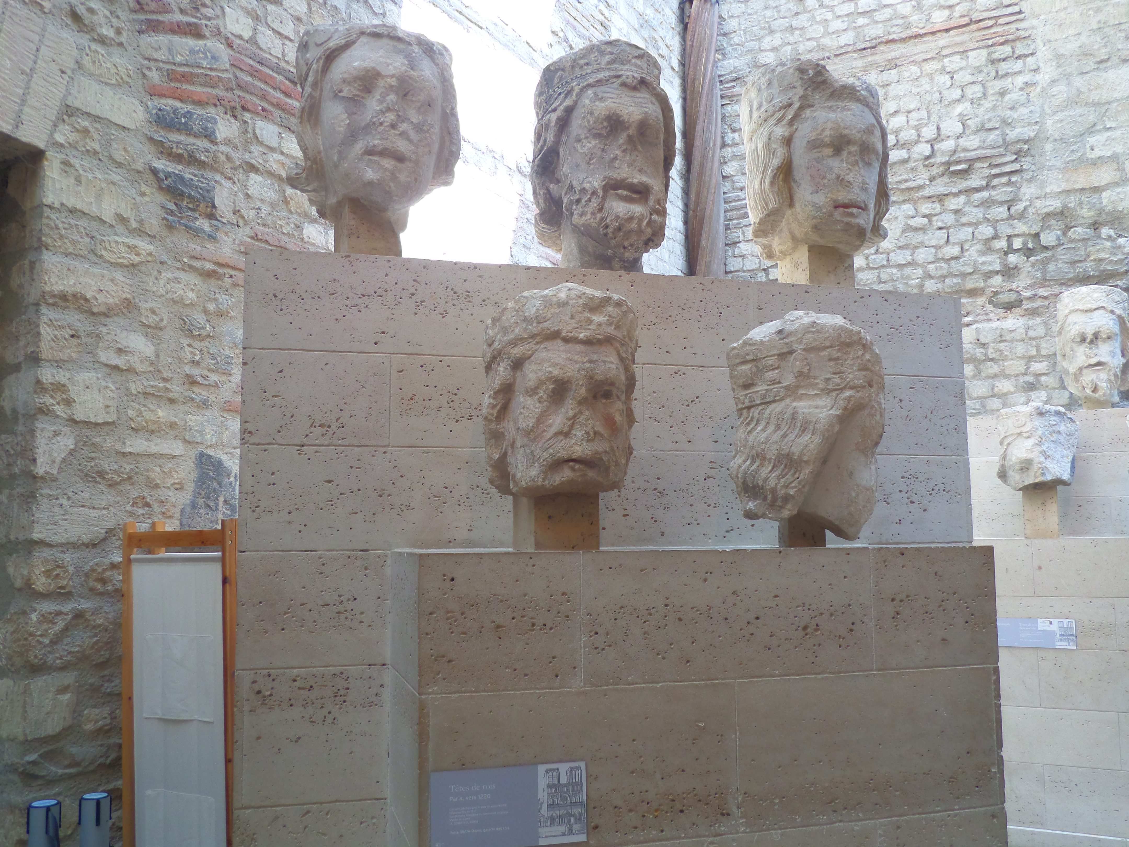 Heads of Kings of Judah, 1220-1230, from Notre Dame, Paris, France at Cluny Museum, Musee de Cluny