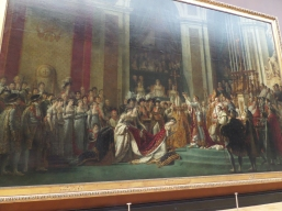 Consecration of Napoleon I and Coronation of Empress Josephine on December 2, 1804, Jacques Louis David, 1806-1807. This painting shows historical depiction of Napoleon (not the pope!) crowning his wife. A favorite of mine although getting a flush photo was impossible due to crowds.