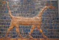 A dragon of glazed tiles from the Ishtar Gate (575 BCE) in Ancient Middle East gallery.
