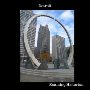 Detroit, Michigan, Labor Legacy monument and Detroit Skyline