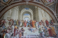 "Raphael's ""School of Athens"" in Vatican. The large man in the front who is writing represents Michelangelo."