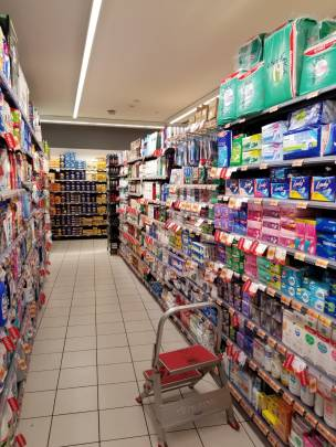 A typical section of the grocery store for non-food products (although some food products included). This aisle also included toilet paper, paper towels, cleaning supplies, etc. There is not a lot of a lot of choice for personal hygeine products.