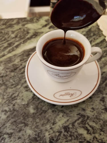 Hot chocolate at Cafe Rivoire in Florence, Italy