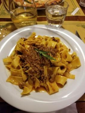 Pasta al cinghiale from La Fiaschetteria in Florence