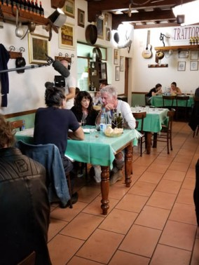 Anthony Bourdain filming at Trattoria Sabatino