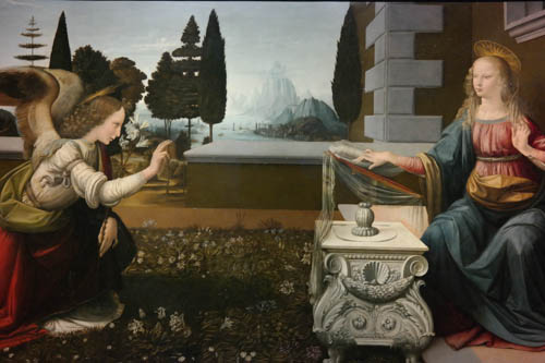 Da Vinci--The Annunciation, Uffizi Gallery, Florence, Italy