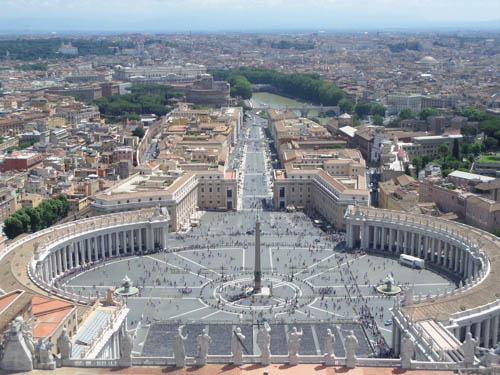 A picture of St. Peter's Square in Vatican City taken from top of dome of St. Peter's Basilica