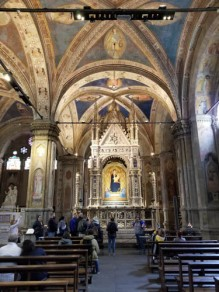 Orsanmichele church in Florence, Italy featuring Orcagna altarpiece
