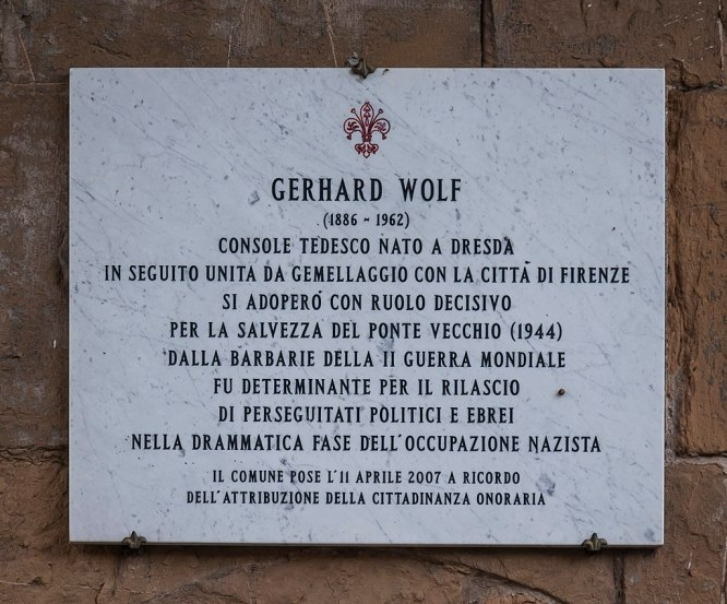 Gerhard Wolf Plaque on Ponte Vecchio, Florence, Italy