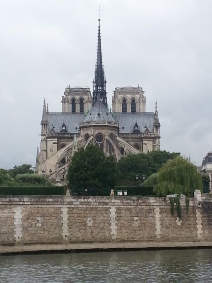Back of Notre Dame Cathedral in Paris, France