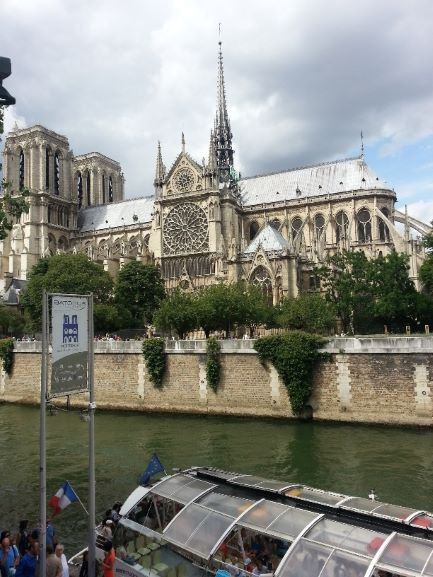 Side of Notre Dame Cathedral from Seine River in Paris, France